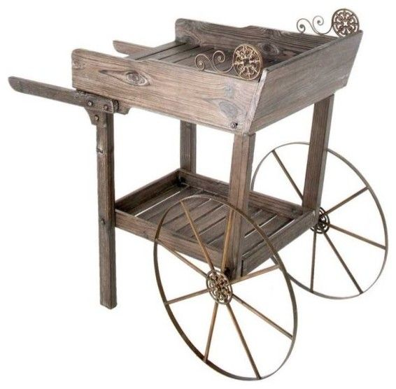 Lovely Wooden Garden Rolling Cart   How To Decorate A Garden Without Patio  Furniture?