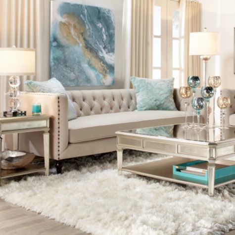 Roberto Sofa From Z Gallerie Silver Living Room Living Room Turquoise Gold Living Room