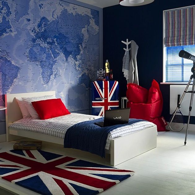 Stylish Bedroom For Teenage Boy Комната мальчикаподростка блог - Wall map children's room
