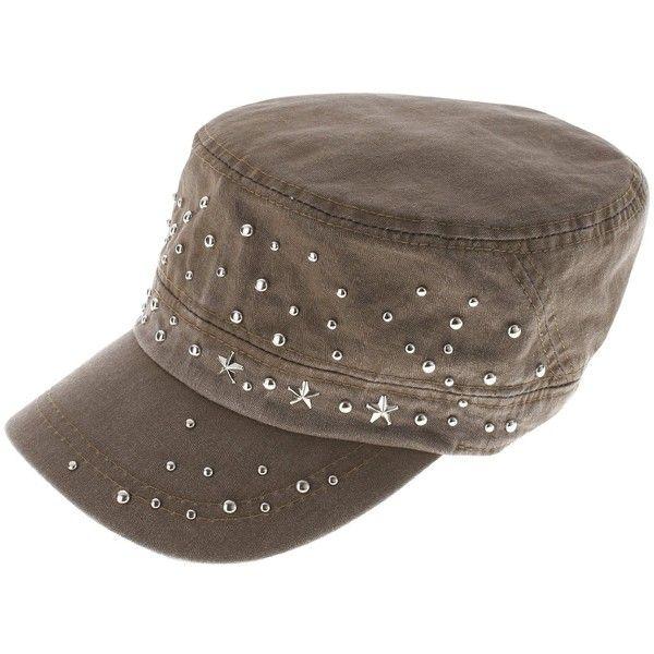 FLATSEVEN Womens Designer Studed Military Cap found on Polyvore ... 9591eddc62