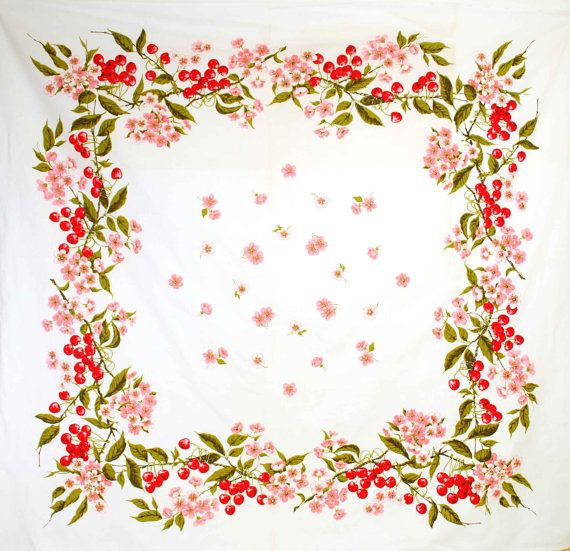 Vintage Cherry Blossom Tablecloth // 1950s By Independencevintage, $36.00