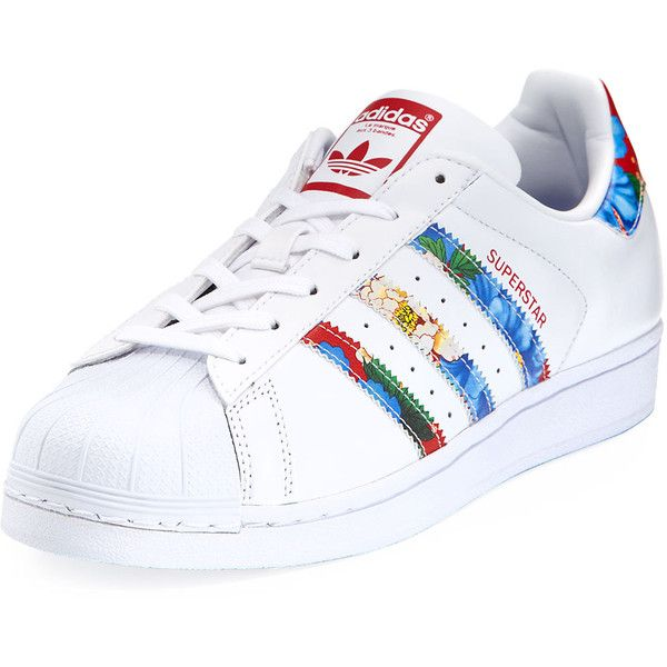 Adidas Superstar Multicolor Stripe Sneaker ($80) ❤ liked on Polyvore  featuring shoes, sneakers