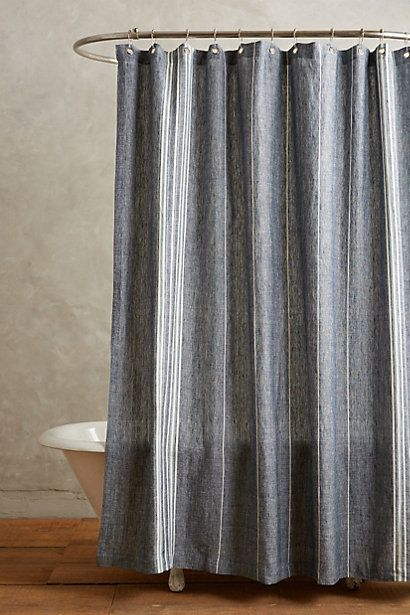 Coyuchi Striped Linen Shower Curtain Modern Shower Curtains