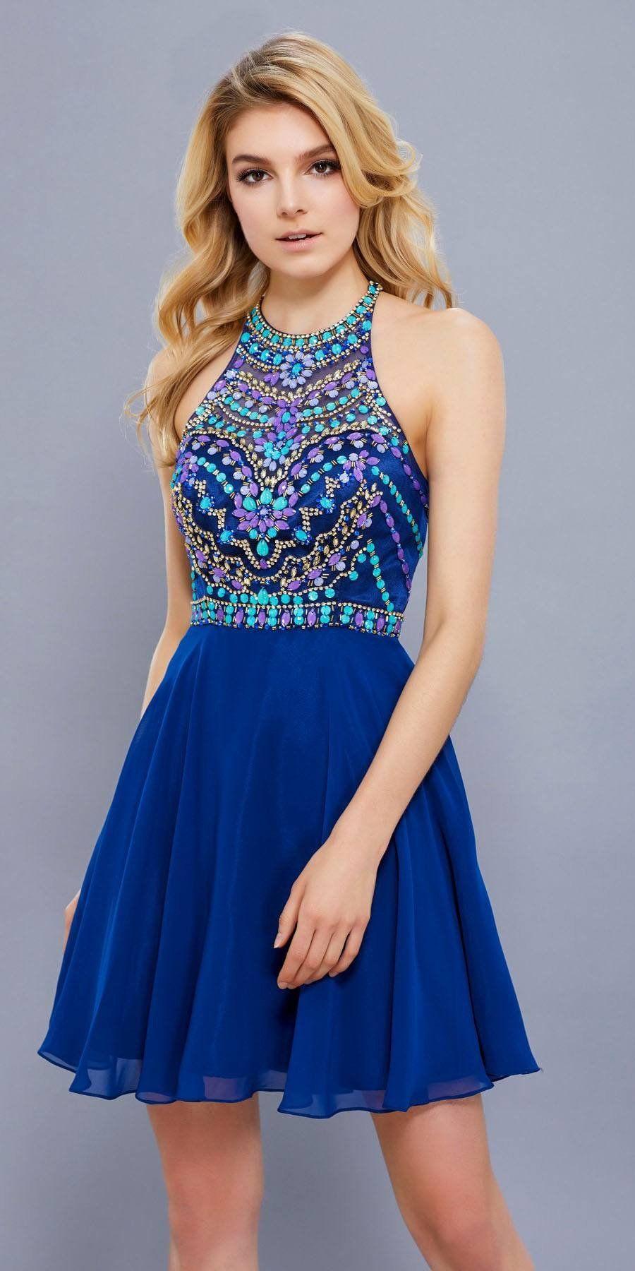 Beaded top round neckline halter short prom dress aqua