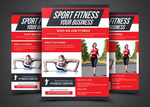 Fitness Flyer - Gym Flyer by AfzaalGraphics on @creativemarket - fitness brochure