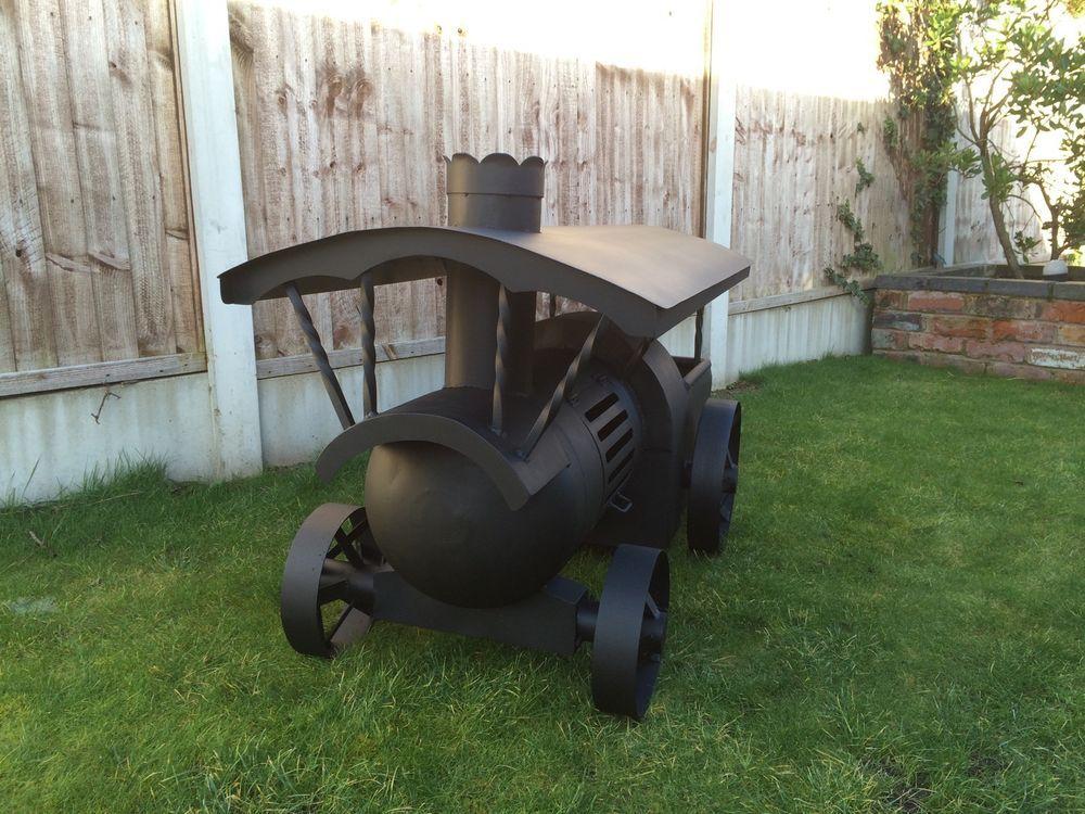 traction engine log burner wood burner gas bottle chiminea. Black Bedroom Furniture Sets. Home Design Ideas