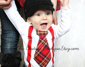 5a1689ae7 Christmas Baby Boy Tie and Suspenders Bodysuit Outfit. Holiday Red ...