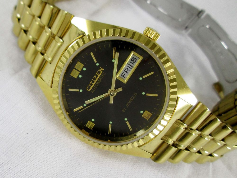9fd1fffa1 VINTAGE GOLD PLATED CITIZEN AUTOMATIC DAY-DATE 21 JEWELS MENS WRIST WATCH # CITIZEN #Casual