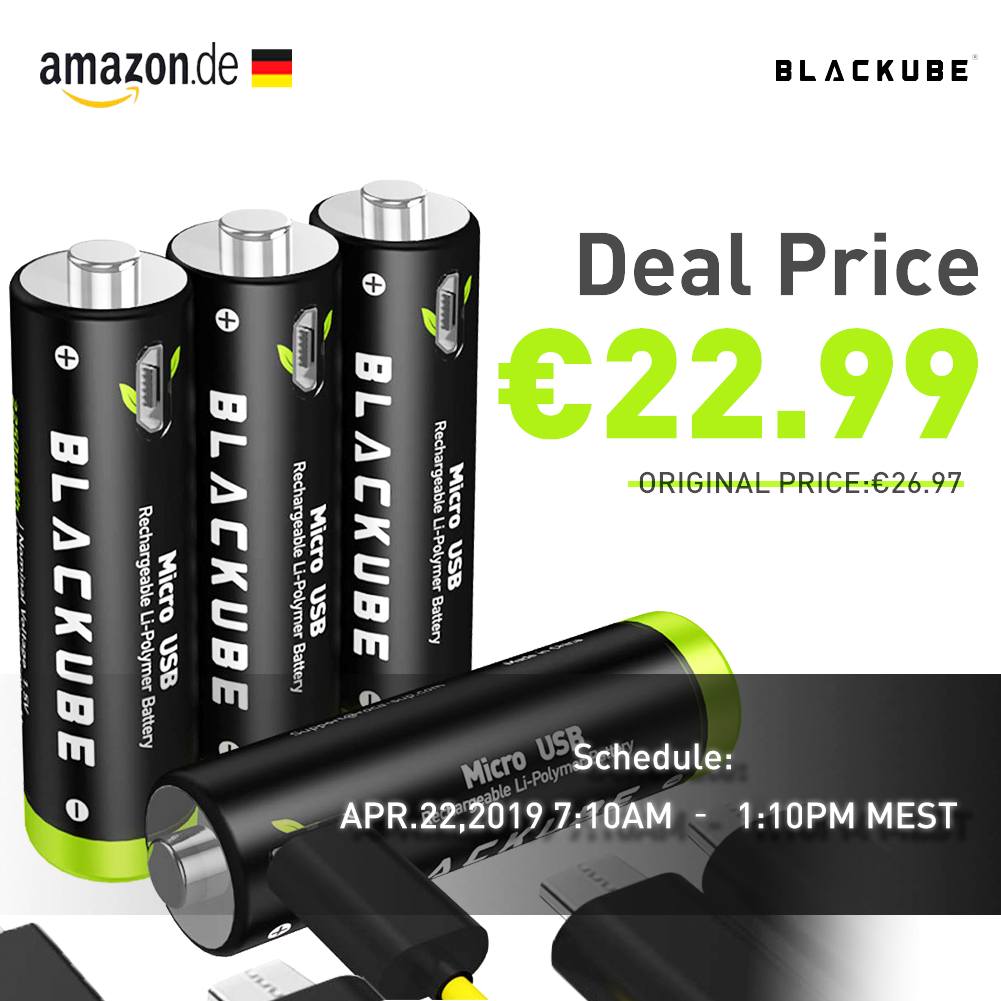 Amazon De Aa 1250mah Rechargeable Batteries Deal Price Only 22 99 Schedule Apr 22 2019 7 10am 1 10p Rechargeable Batteries Charge Battery Usb