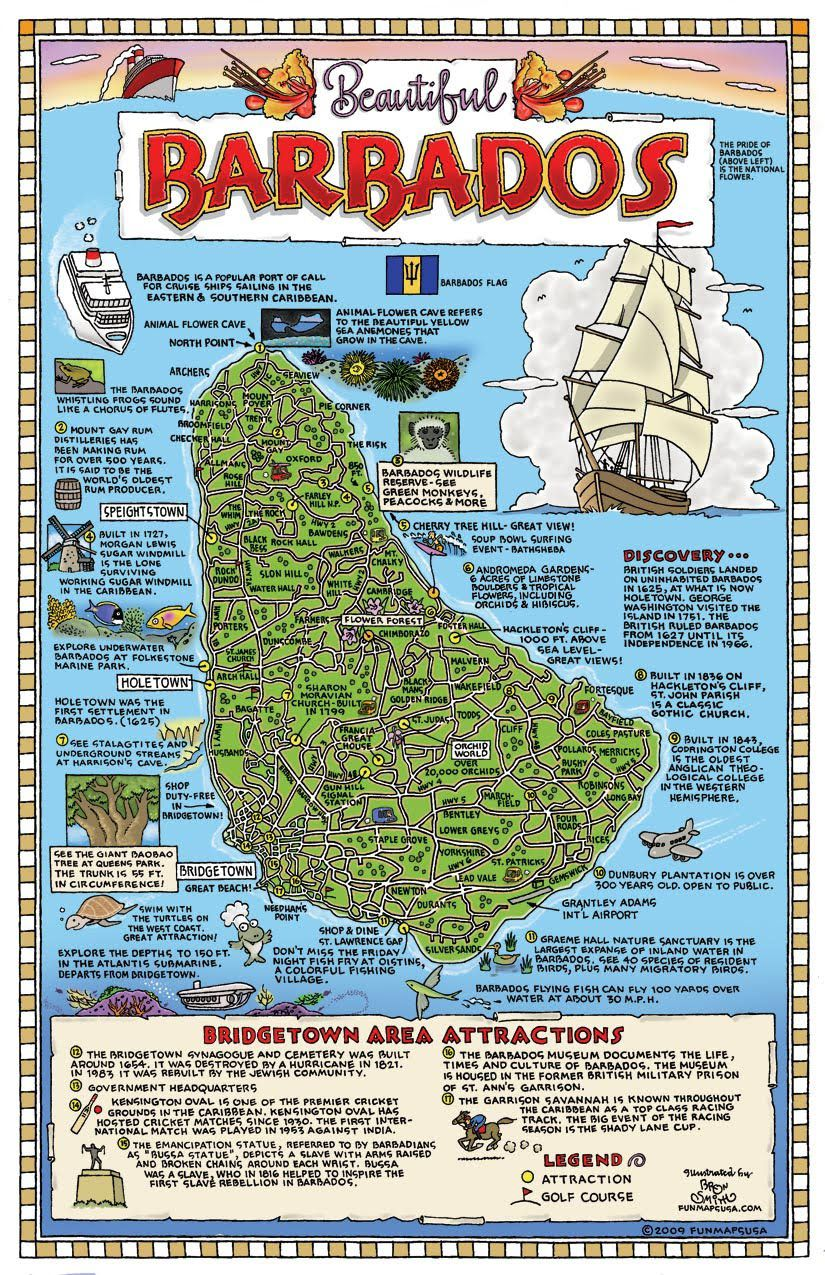 Large detailed tourist map of Barbados Barbados large detailed