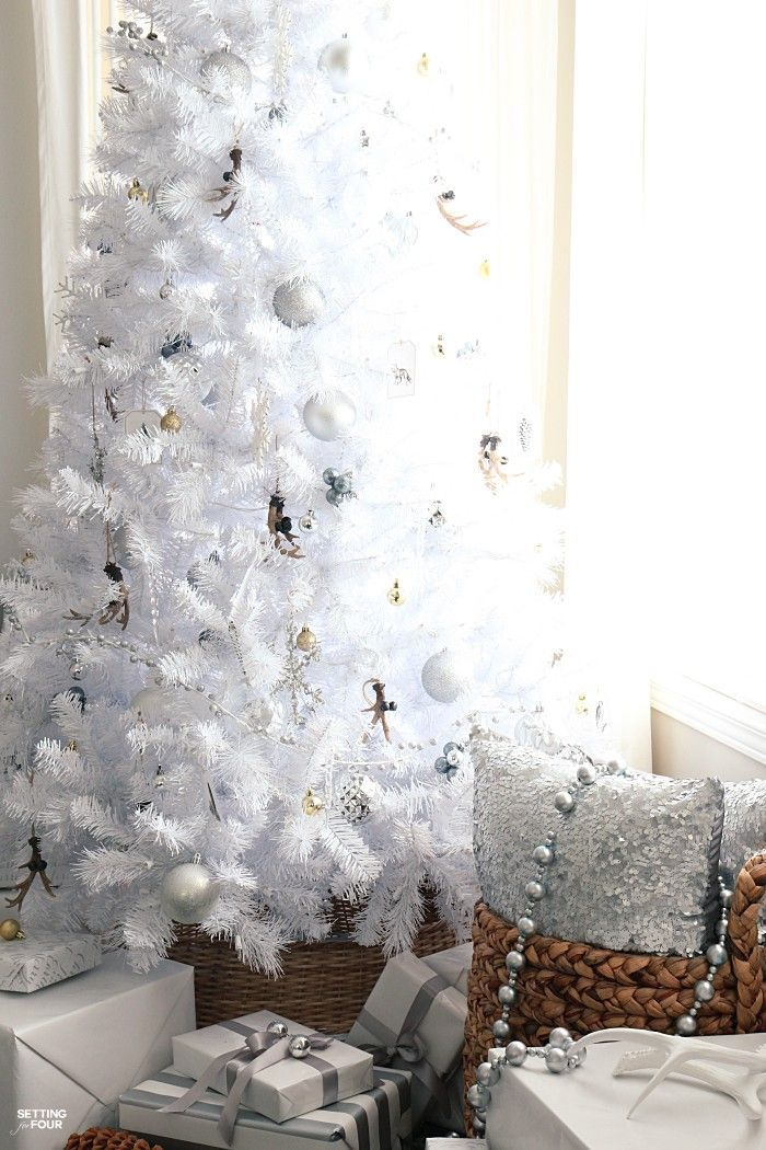 White Christmas Tree - Rustic Glam Style Pinterest Glam style - white christmas tree decorations