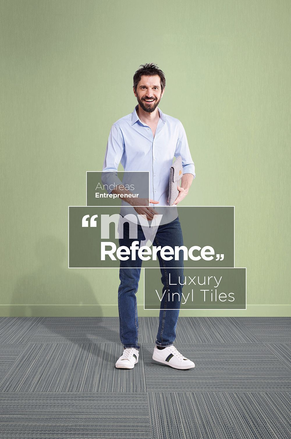"""Gerflor's Luxury Vinyl Tiles are easy to install, providing a cost-effective solution AND more time to focus on my work""  This is Andreas' reference, what's yours? #MyReference"