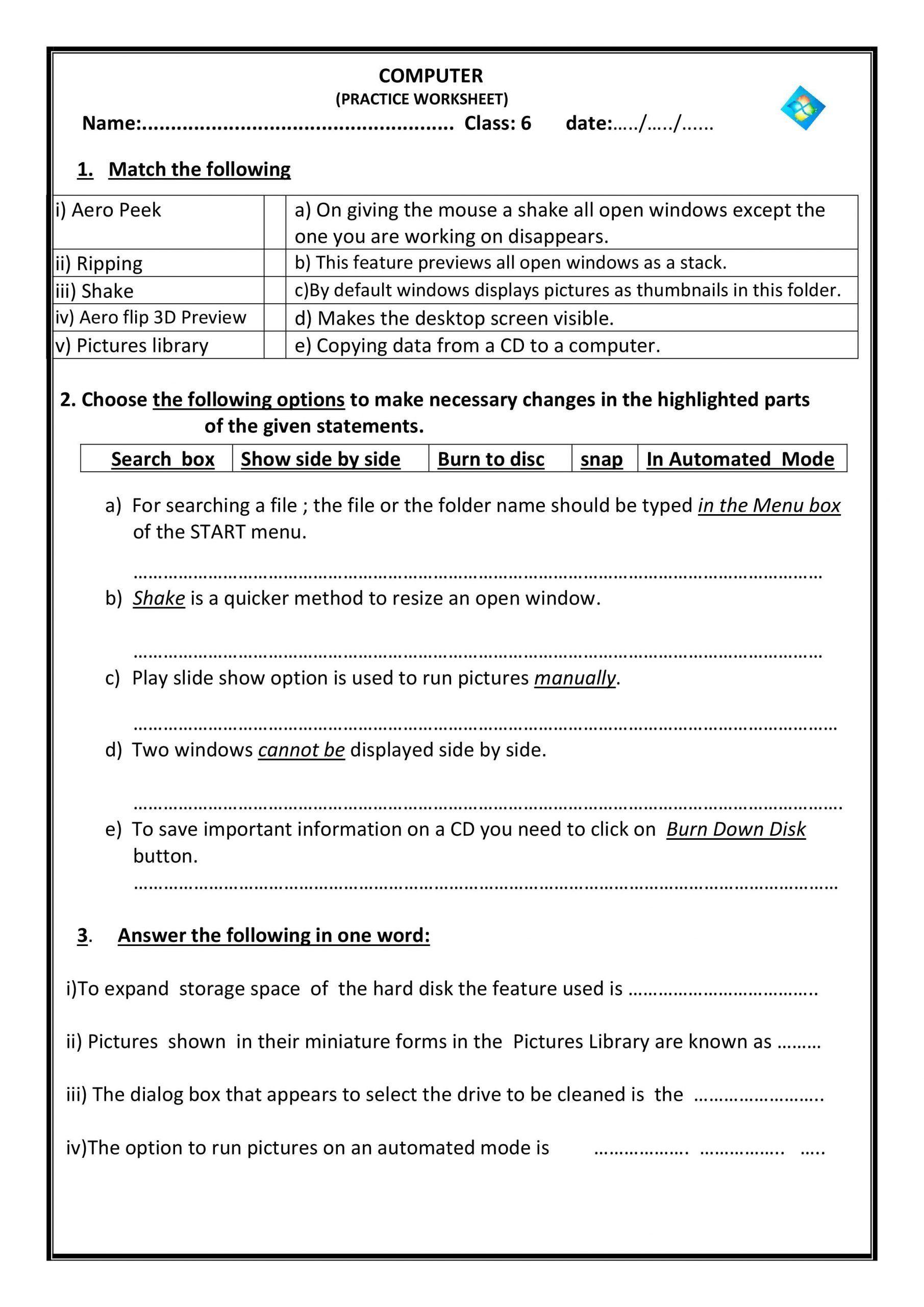 Free Printable Computer Worksheets Puter Science Worksheet