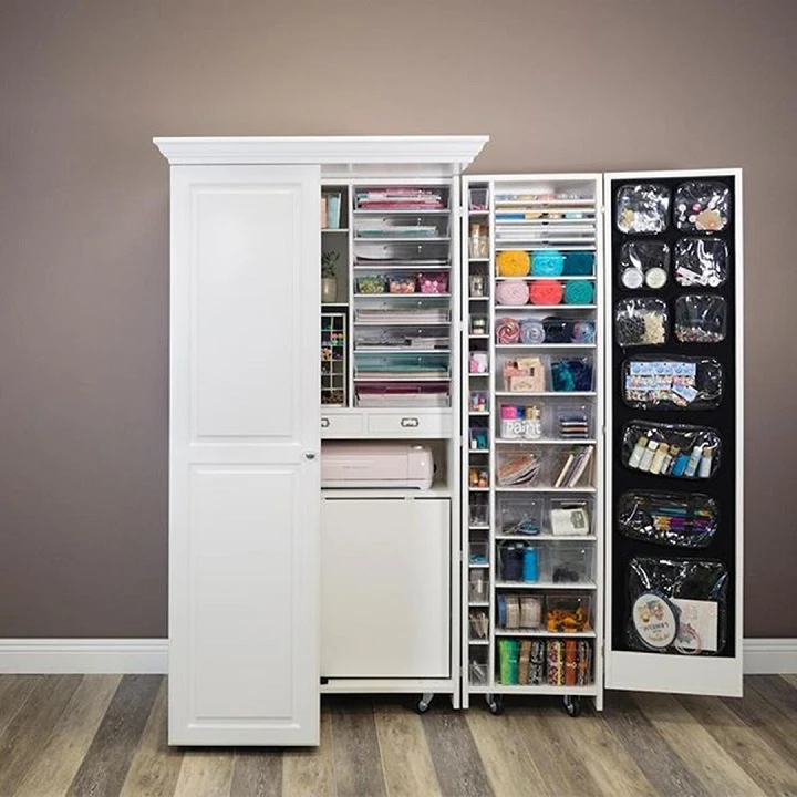 Multifunctional Deluxe Wardrobe Pointssizing In 2020 Craft Storage Cabinets Small Room Design Craft Room Design