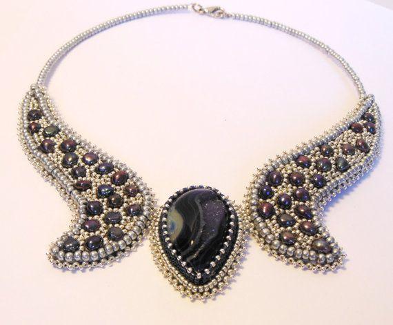Ágata cordón bordado collar Collar plata perla hecho a por Reginao