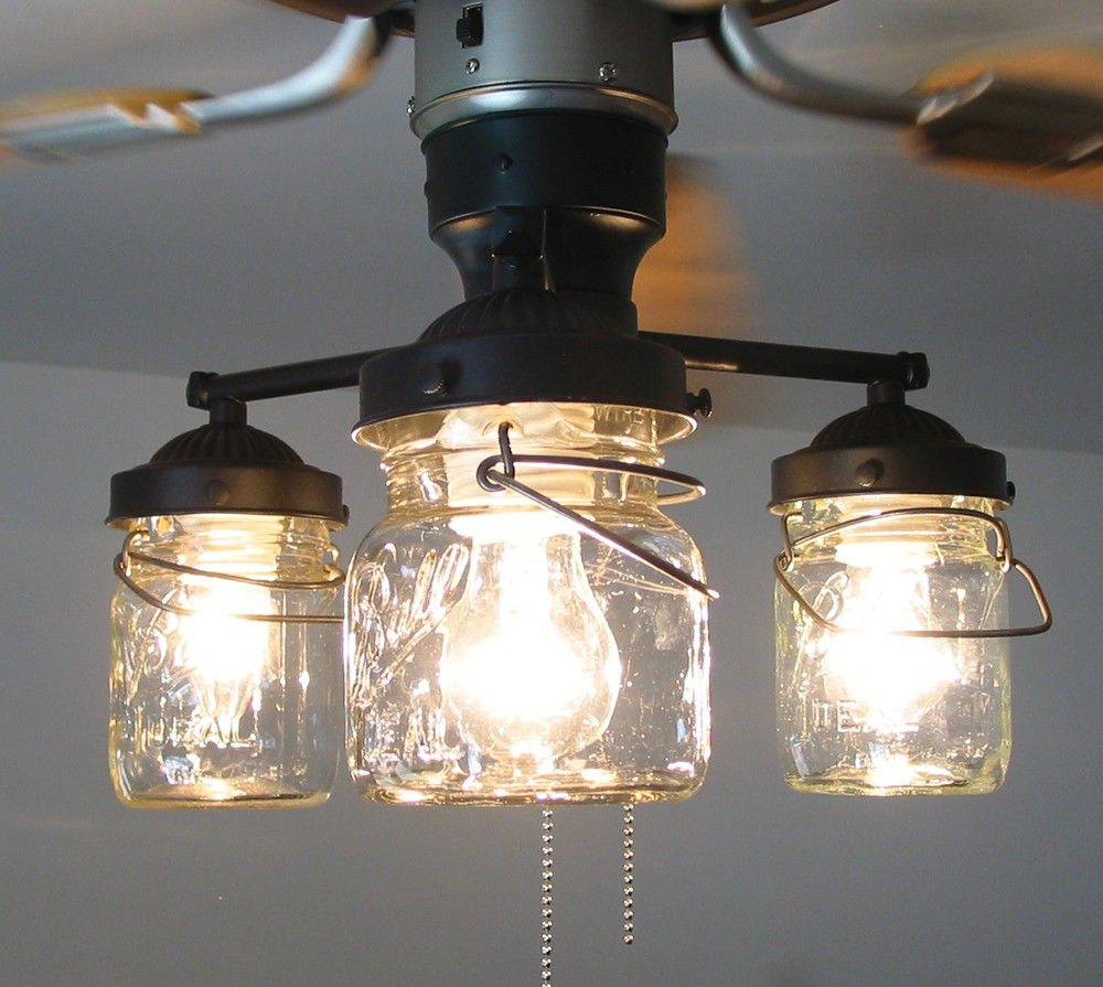 Mason Jar Ceiling Fan LIGHT KIT ONLY With Vintage Pints   Farmhouse Lighting  Fixture Chandelier Pendant Flush Lamp Mount Track By LampGoods | Fan Light  Kits ...