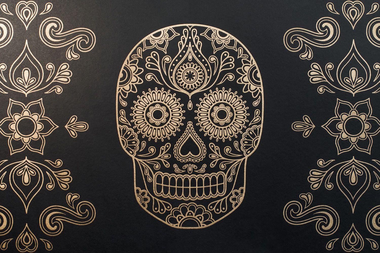 Day Of The Dead Sugar Skull Wallpaper Black Gold Sugar Skull Wallpaper Skull Wallpaper Sugar Skull Tattoos