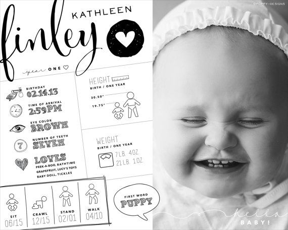 Sonderanfertigungen ein Jahr Baby Infographik Stil Kunstwerk, Geburtstag Infographik