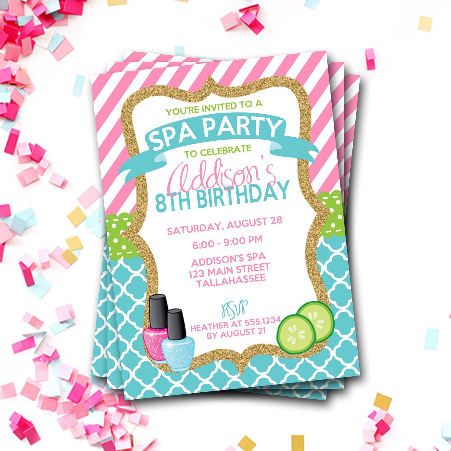spa birthday invitation spa party invitation sleepover birthday