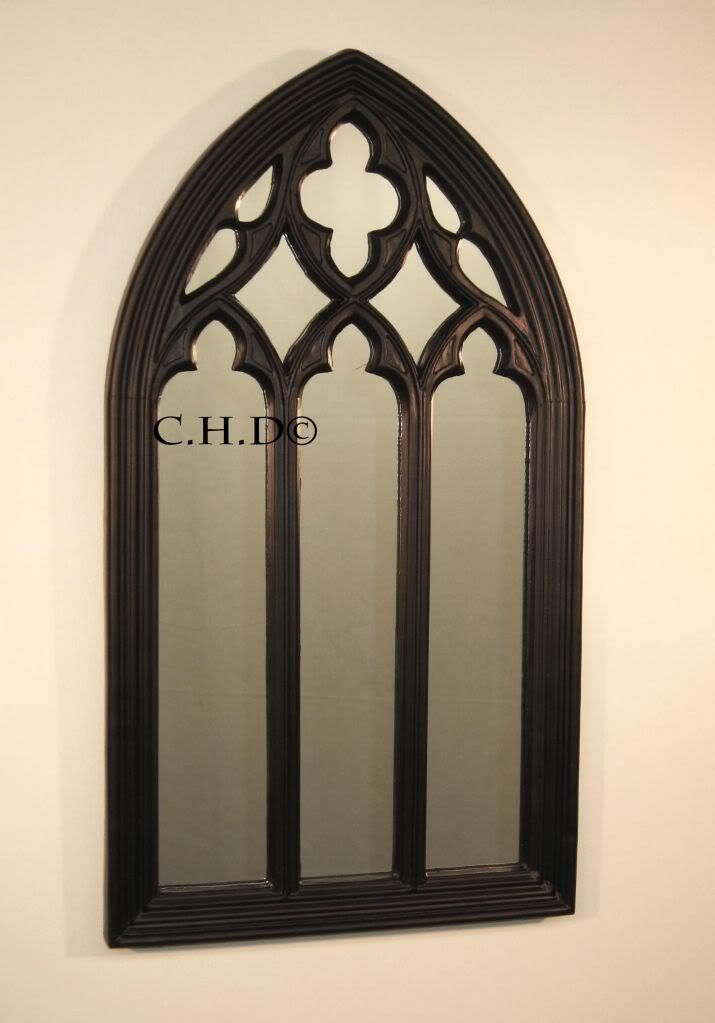 Black gothic arched church window mirror shabby chic for Window mirrors for sale