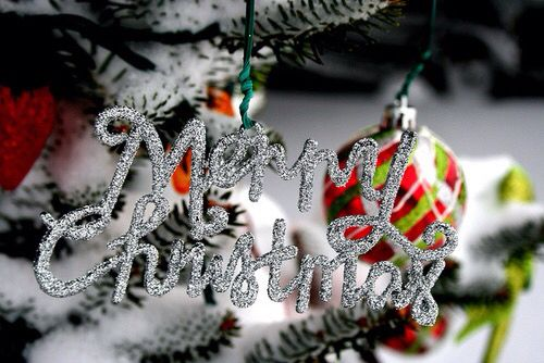 """Silver Glittered """"Merry Christmas"""" Decoration"""