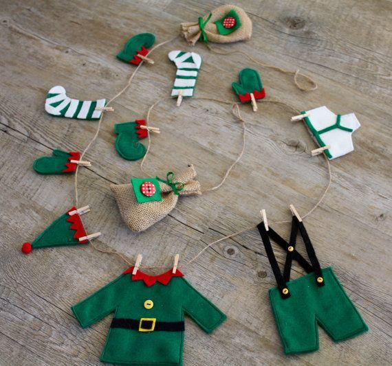 Felt christmas garland christmas bunting banner elf 39 s - Guirnaldas de navidad ...