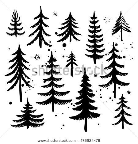 Set Hand Drawn Christmas Tree Splatter Stock Vector 476924476 Shutterstock Christmas Tree Art Christmas Tree Outline Tree Doodle