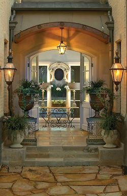Mediterranean Style Entrance The Large Urns And Greenery Are Awesome Front Entryentry Foyerporch
