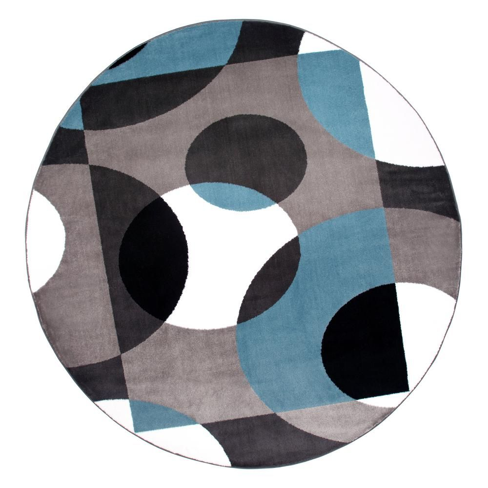 World Rug Gallery Contemporary Circles Blue Indoor 6 Ft 6 In Round Area Rug 100blue6rnd Round Area Rugs Modern Area Rugs Blue Area Rugs