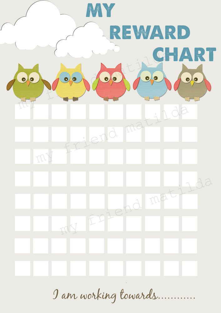 picture of sticker chart: Owl reward chart for potty training chores or earning a reward