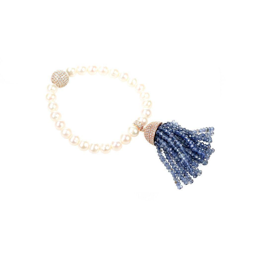 Tassel pearl bracelet iolite white cz tassels bracelets and