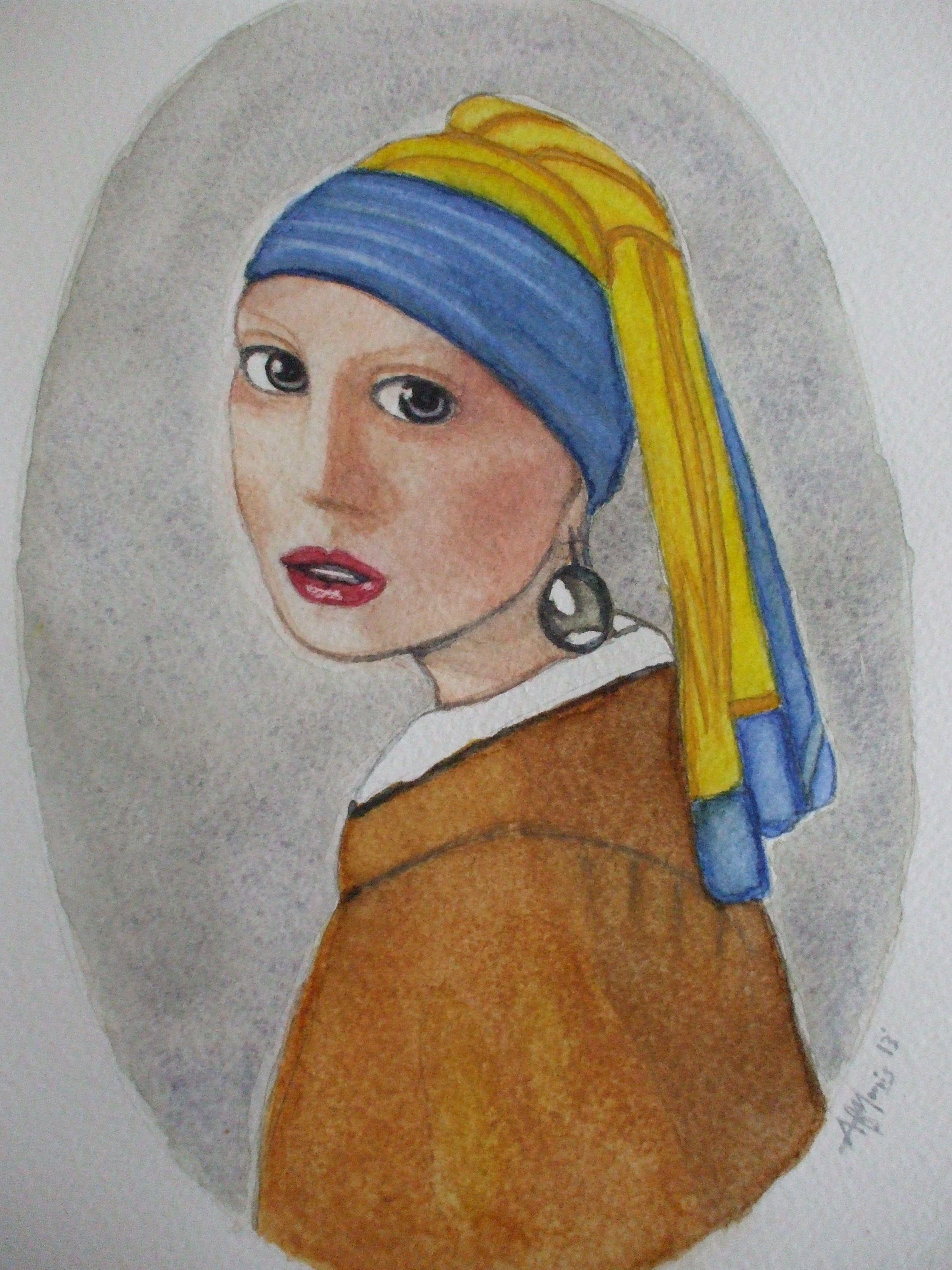 Vermeer's 'Girl with a pearl earring' by AF Morris Art