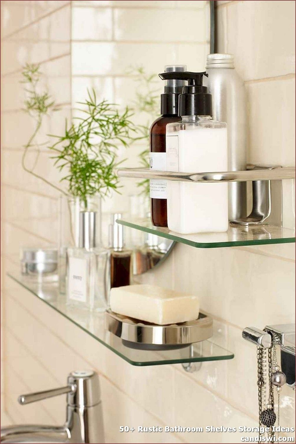 50 Rustic Bathroom Shelves Storage Ideas Including A Floating Shelf Above The Bathroom Is A Straightf Glass Bathroom Shelves Shower Shelves Glass Bathroom