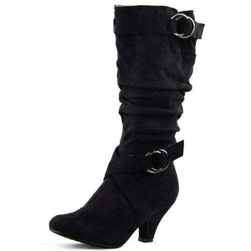 Womens Ladies Fashion Suede Leather Buckle Strap Low Heel Knee High Boots Shoes