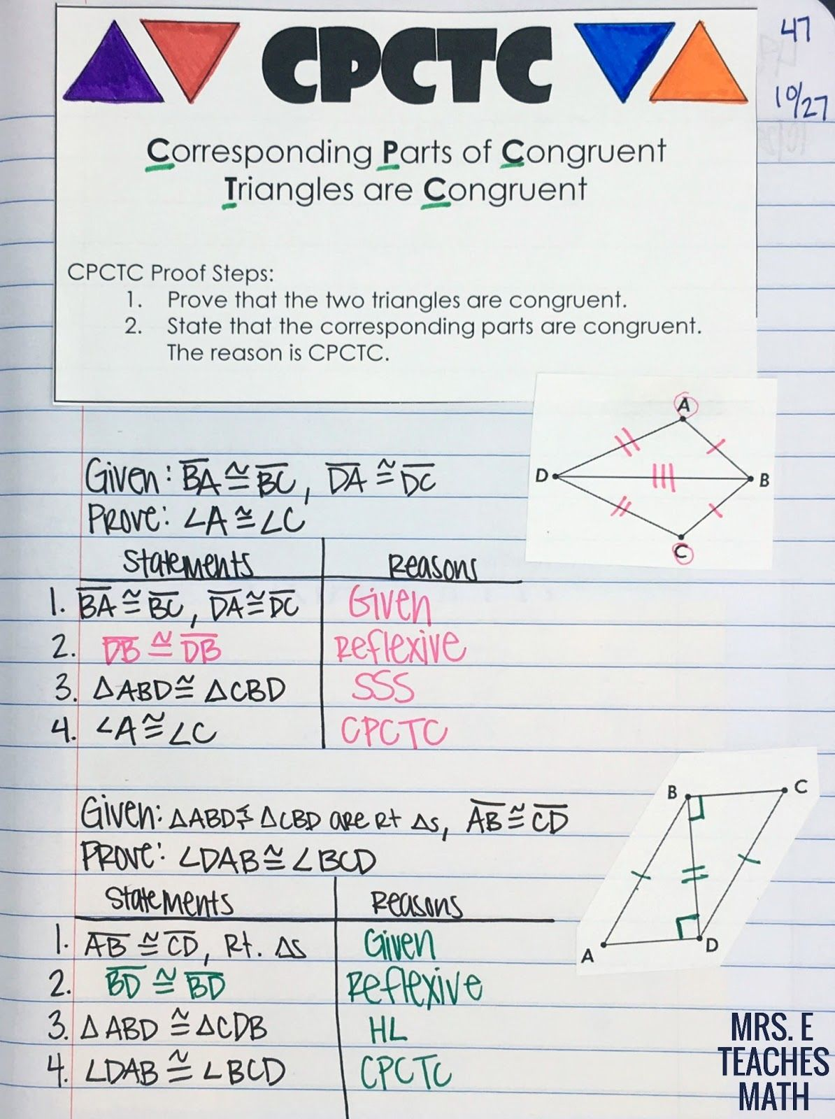 Two Column Proofs Congruent Triangles Worksheet With