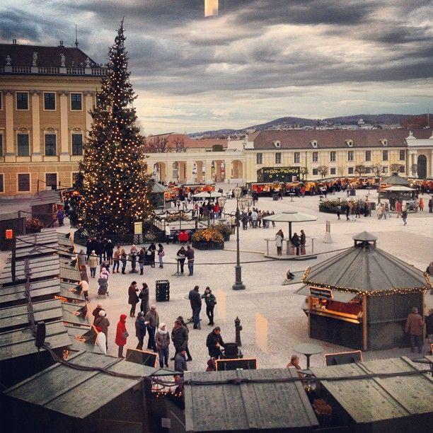 Christmas market outside the summer palace in Vienna #vienna #austria #europe #honeymoon #christmas  (at Vienna, Austria)