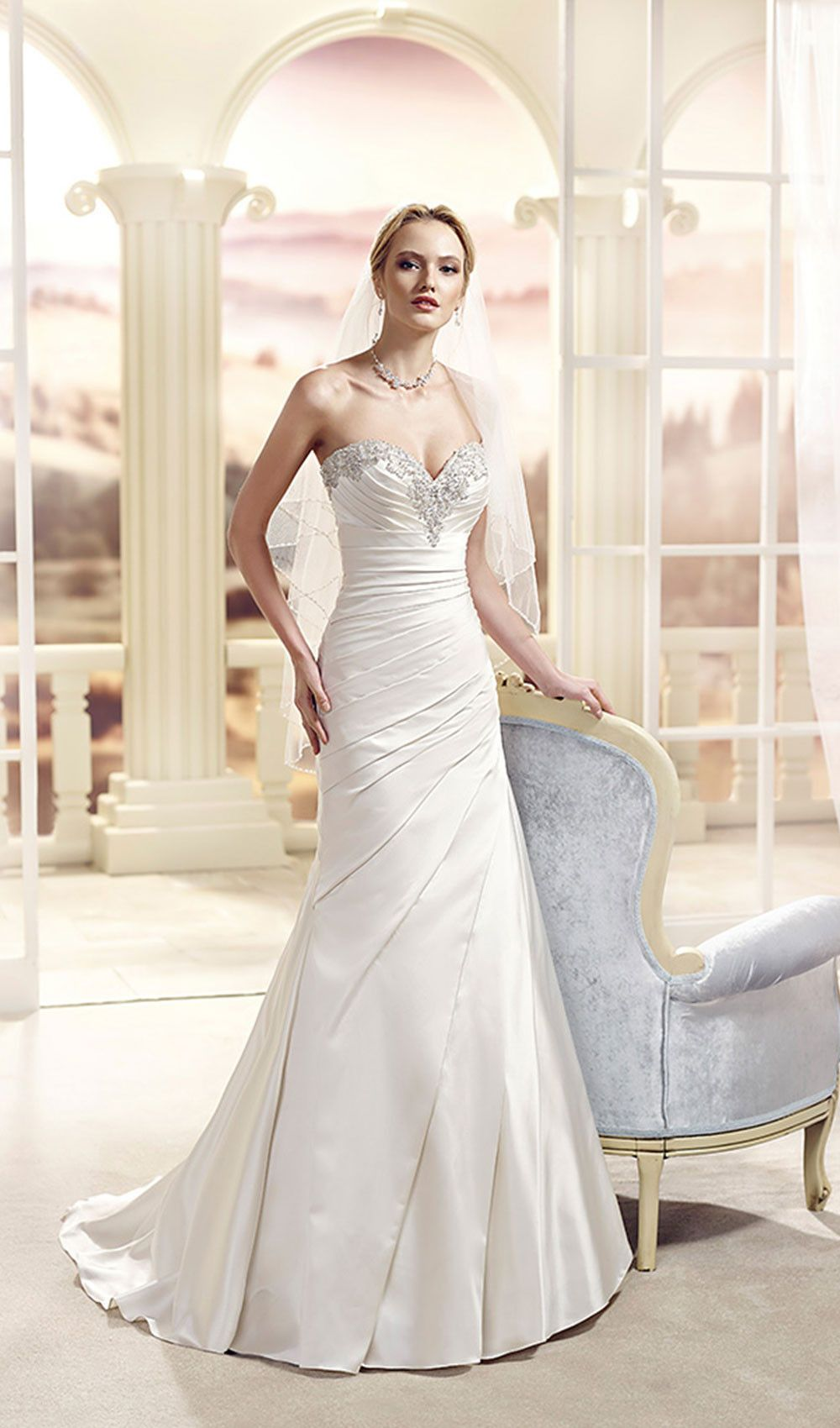 Try this corded beaded chantilly lace sweetheart neckline wedding