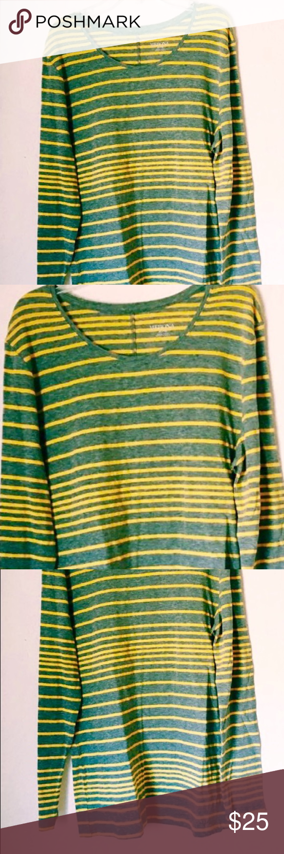 TARA TOP Green & Gold striped sweater Long sleeve green & yellow ...