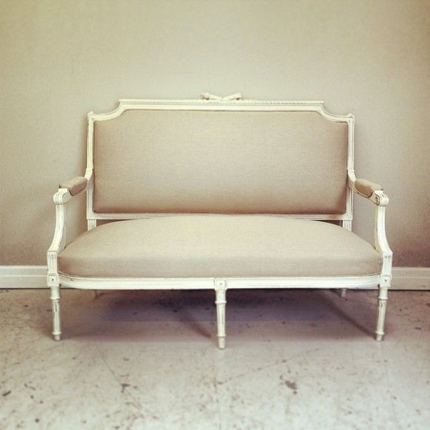 Louis Xvi Style Antique Settee Recovered Lime White Distressed Frame Calico Fabric Frenchfinds Co Uk