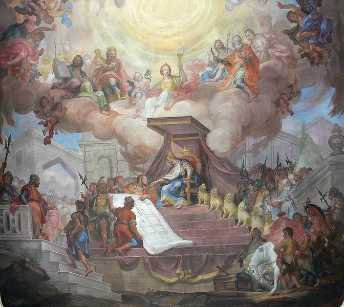 Solomon on his throne - Painting: Andreas Brugger; Photo: Andreas Praefcke