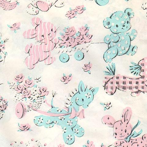 Vintage Baby Shower Gift Wrap Uncut Sheet Pastel Pink Blue Bears Bunnies Sheep Dog Vintage Wrapping Paper Japanese Wrapping Cloth Vintage Baby