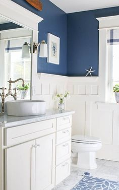 Powder Room main level - Navy Blue and White Bathroom - Saw Nail and Paint
