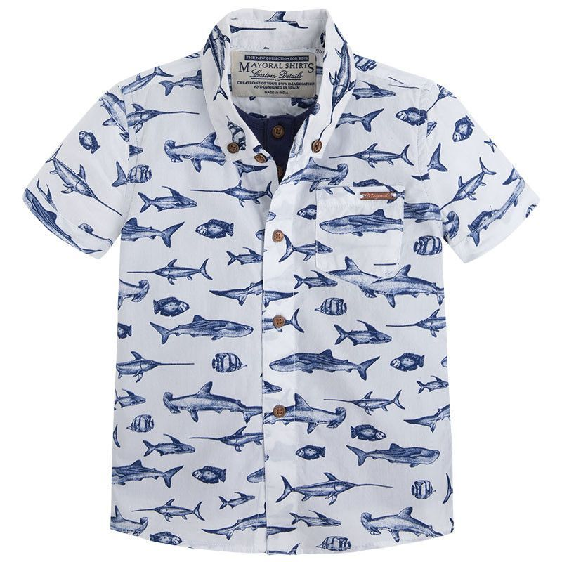 Mayoral boys fish print button up boy 39 s outfits for Fish print shirt