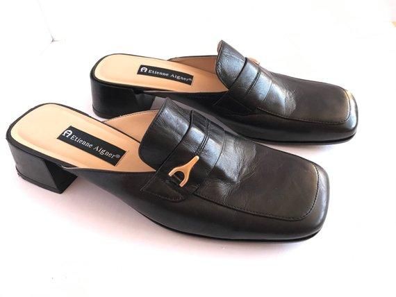 89290436f654e Black Leather Mules, Vintage Black Leather Slides 10, Chunky Heel ...