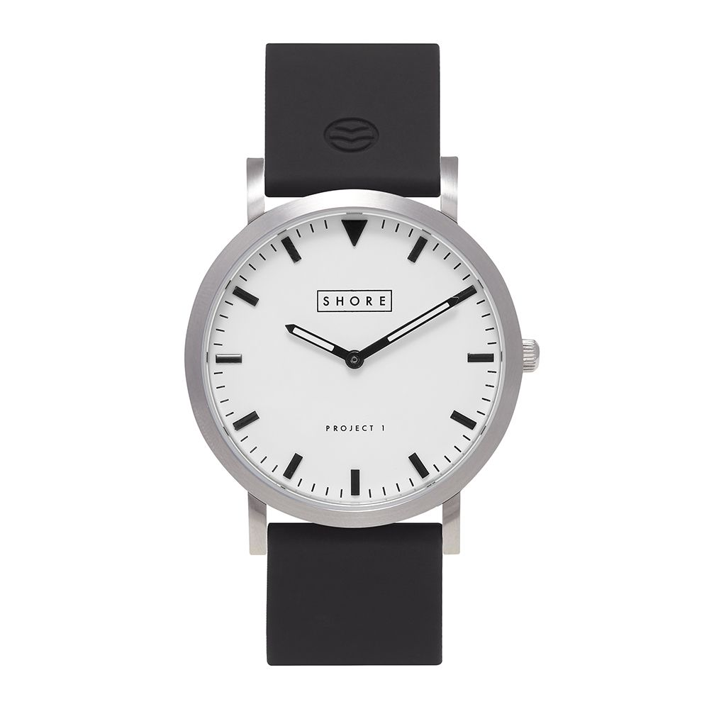 Product image vintage timepiece brushed silver white watch