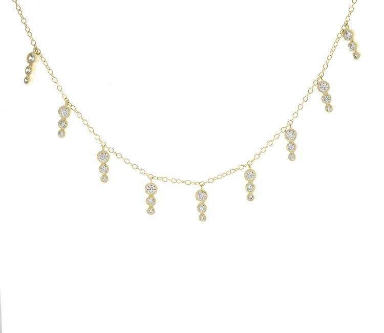 Triple Bezel Drip Necklace - Gold