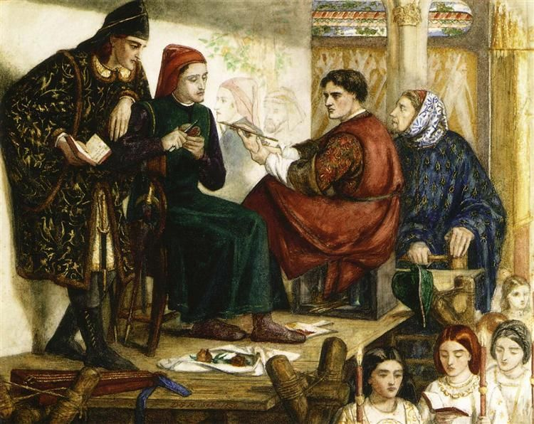 Giotto Painting the Portrait of Dante, 1852 by Dante Gabriel Rossetti. Romanticism. history painting. Private Collection