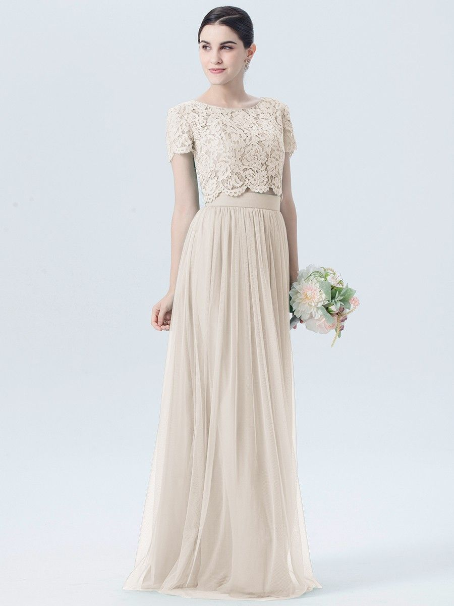 Lace Tulle 2 Piece Dress with Short Sleeves Plus and