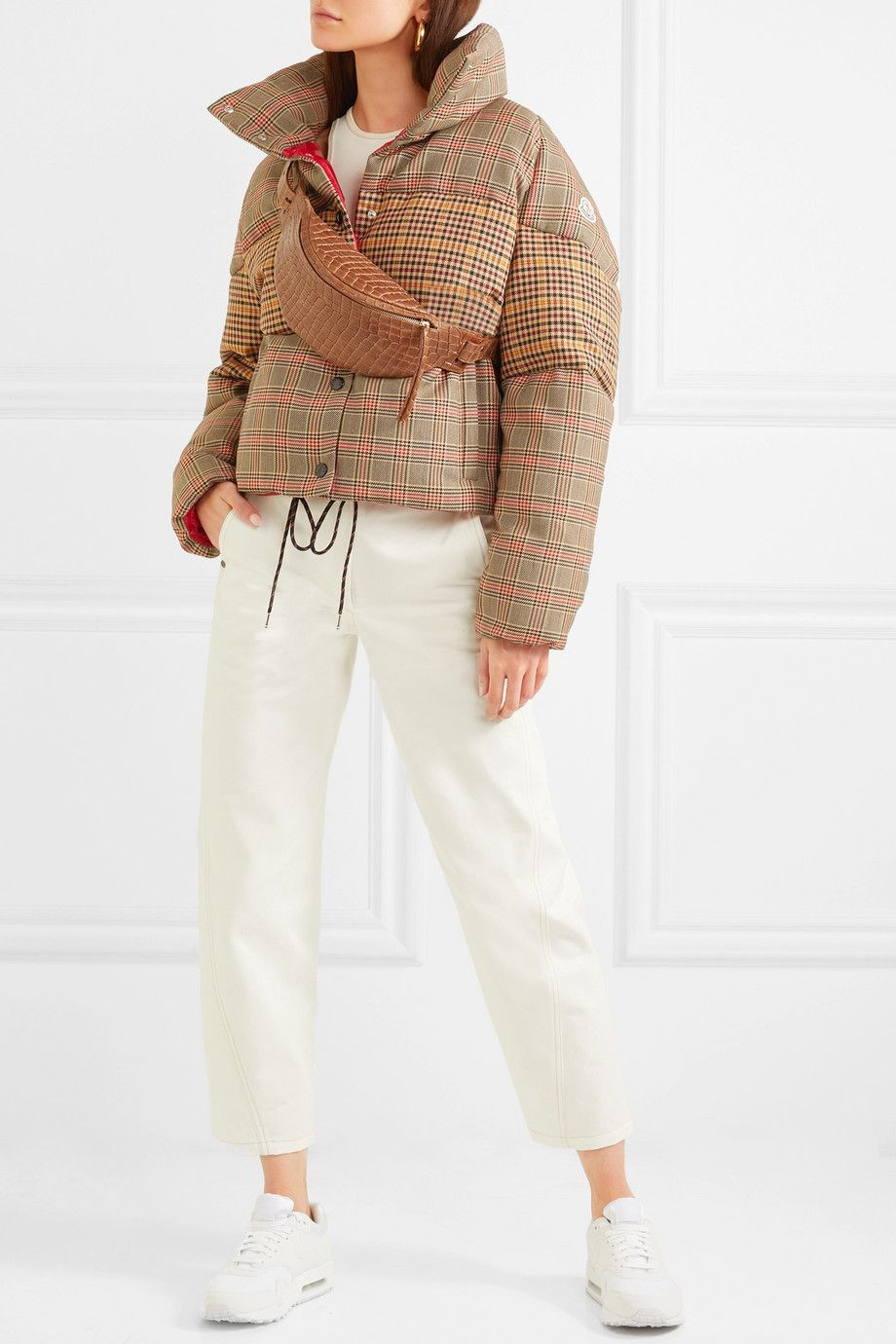 Moncler Paneled checked quilted woolblend down jacket