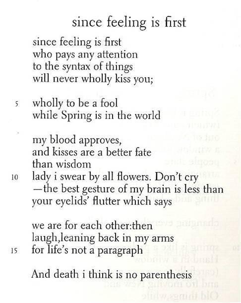 Since Feeling Is First Edward Estlin Cummings Love Poems